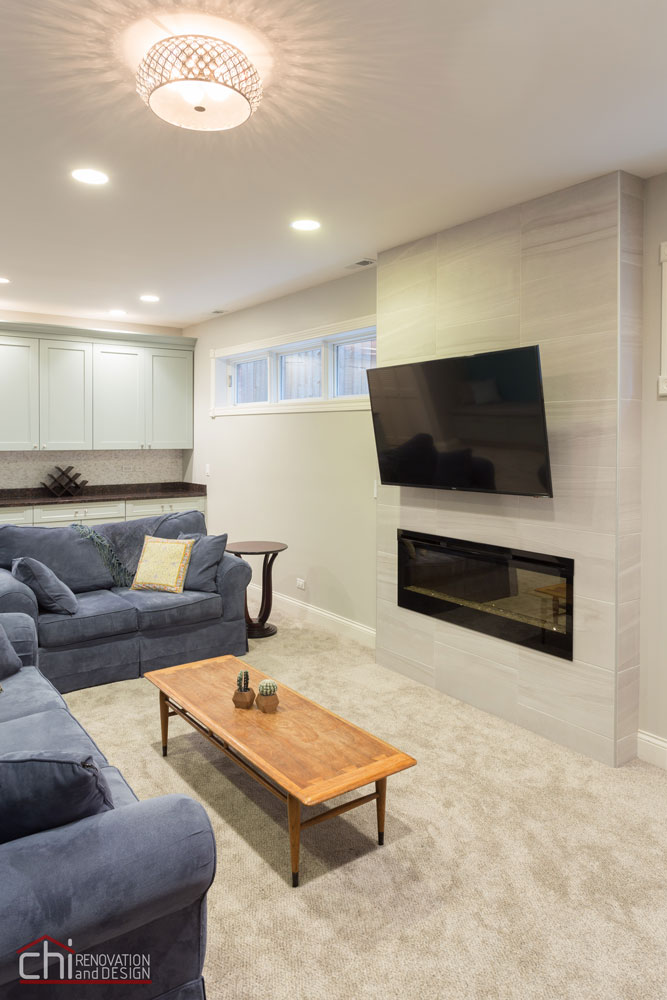 Chicago Lincoln Square Basement Living Room Remodel