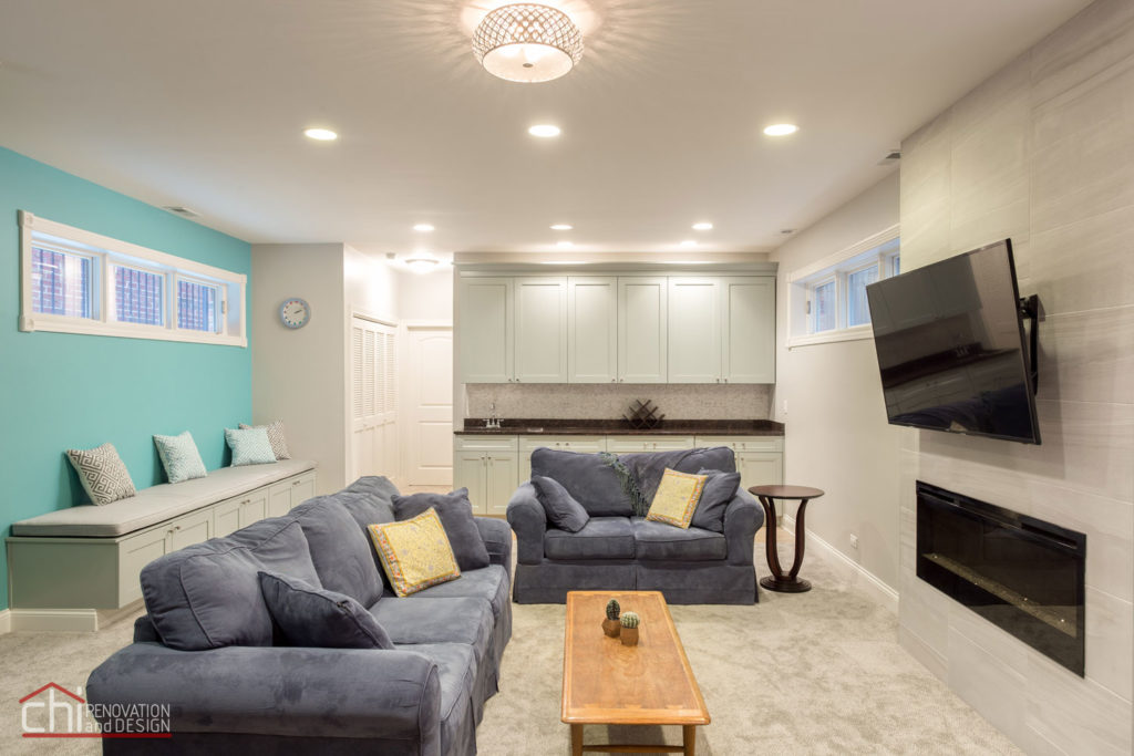 Chicago Lincoln Square Basement Living Room Renovation