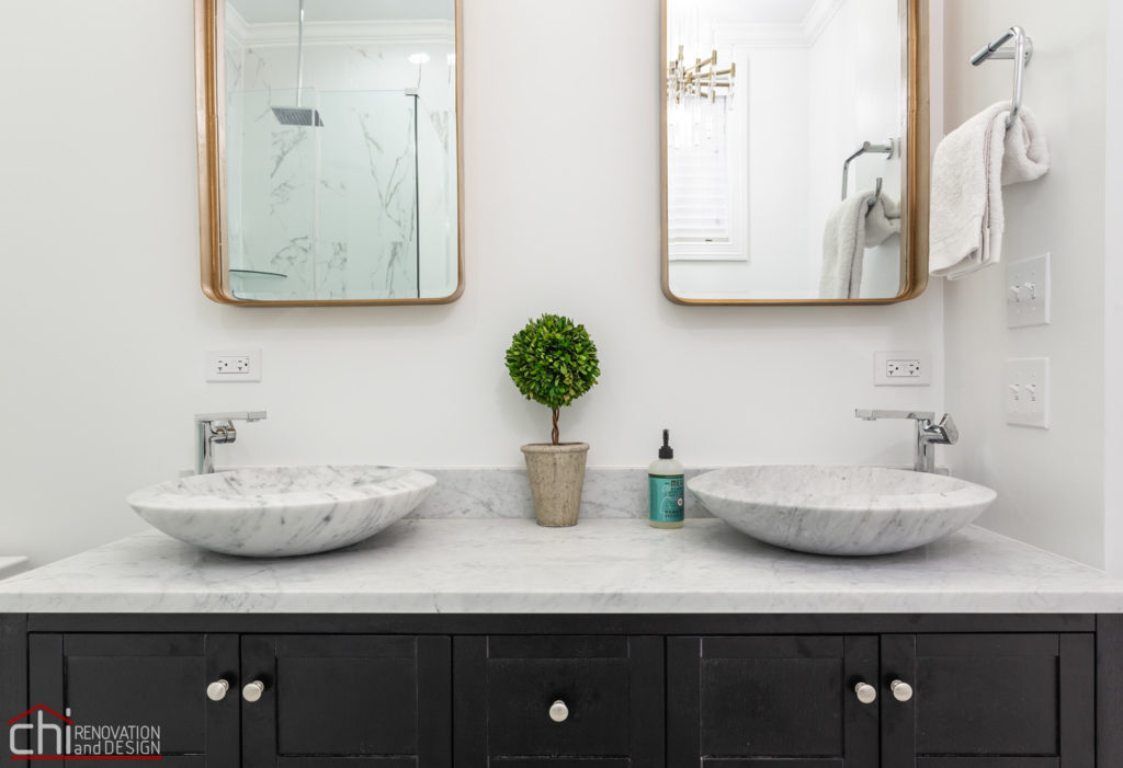 Ranch Triangle Chicago Bathroom Twin Sink Renovation