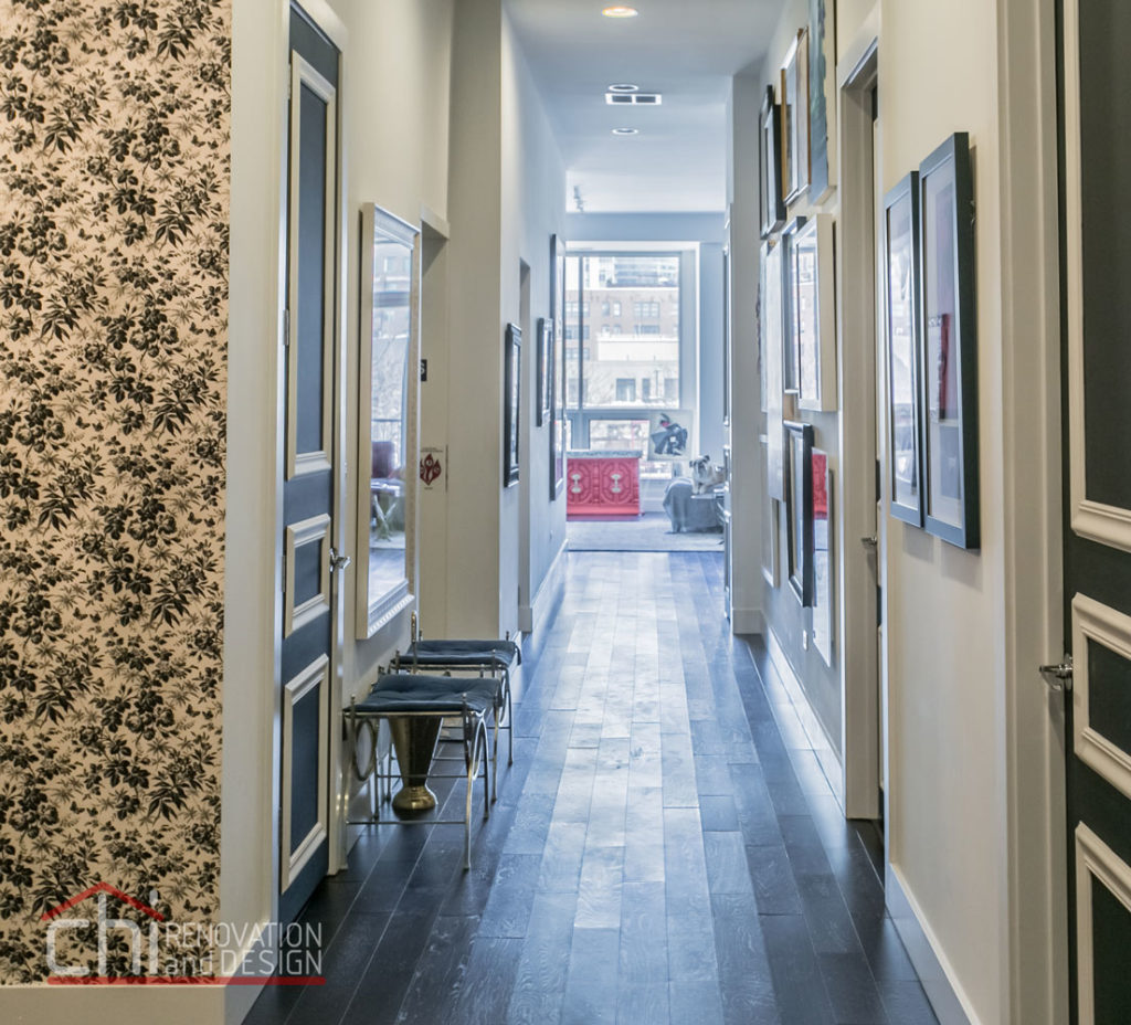 Artistic Urban Chicago Hallway Remodeling