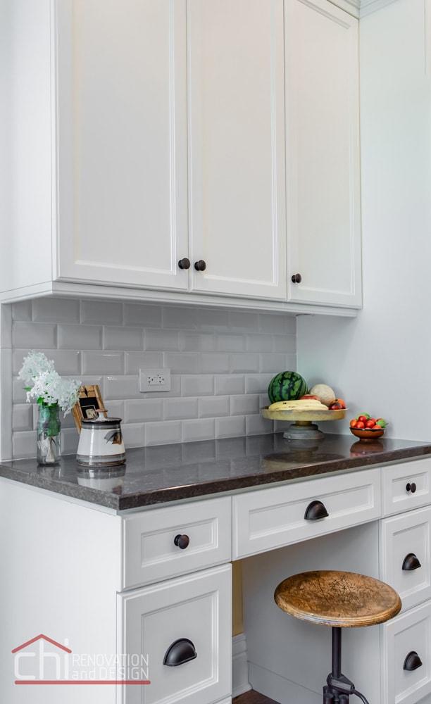 Chicago Burling St Custom White Kitchen Cabinet