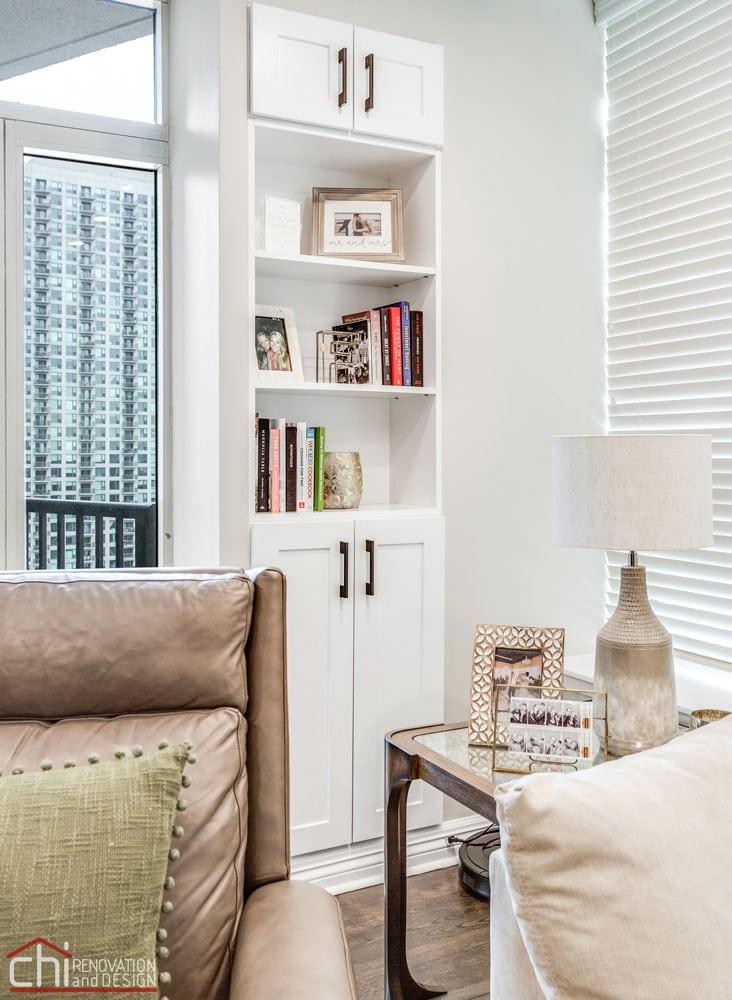 Chicago Condo Kingsbury Book Shelves Remodel
