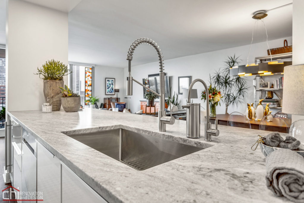 Chicago Modern Condo Living Kitchen Faucet Remodel