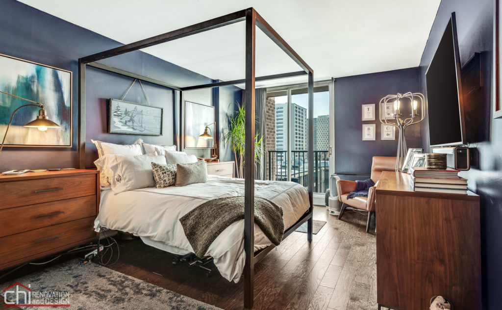 Chicago Modern Condo Living Remodeled Bedroom Interior