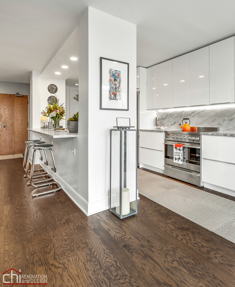 CHI | Chicago Modern Condo Living Wooden Floor Kitchen Remodel