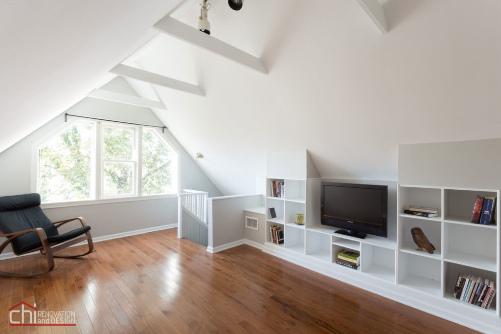 Chicago Roscoe Attic Living Space Remodel