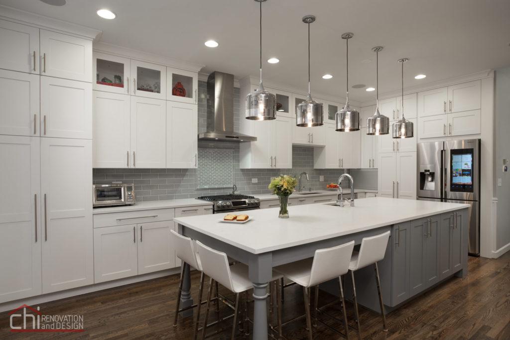 Contemporary White Kitchen Remodel Chicago