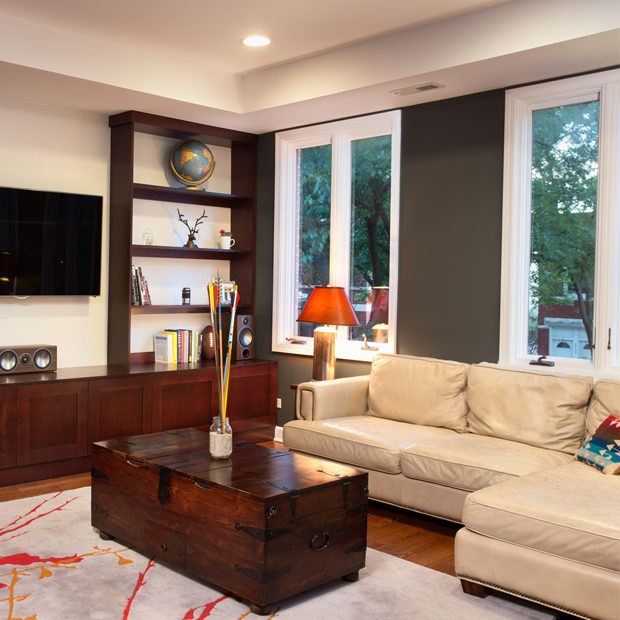 Custom Library Living Room And Banquette Design