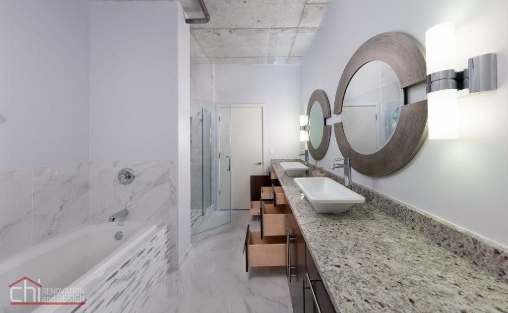 Evanston Loft Bathroom Open Vanity Remodel