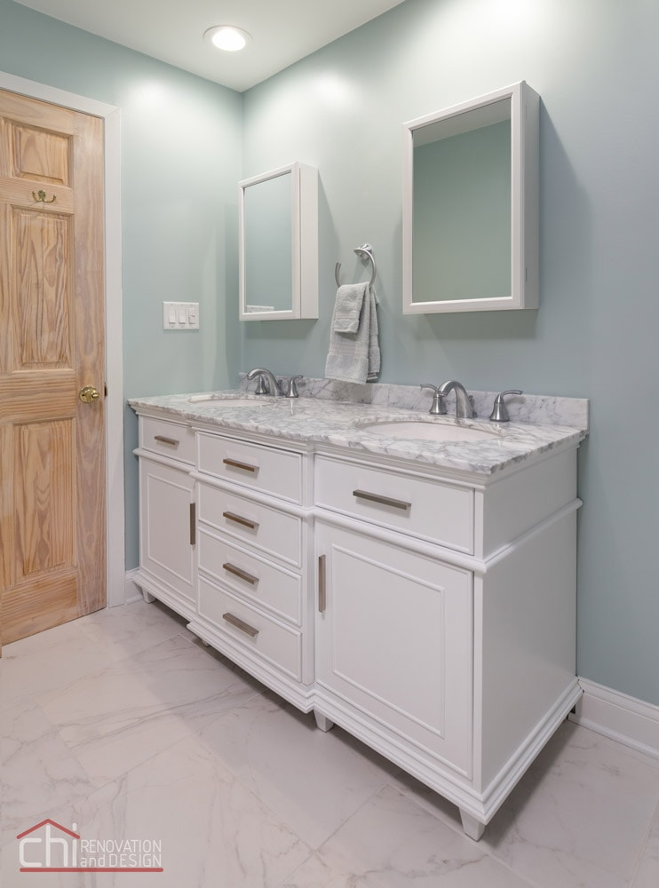 Lakeview Master Bathroom Twin Sink Remodel