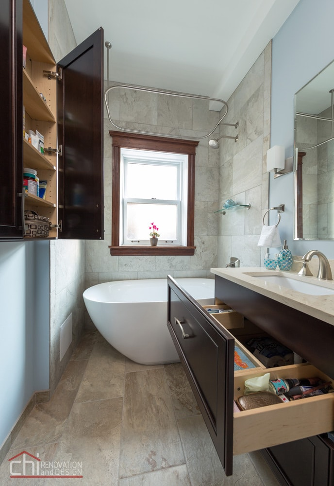Lincoln Park Bathroom Open Cabinets Remodel