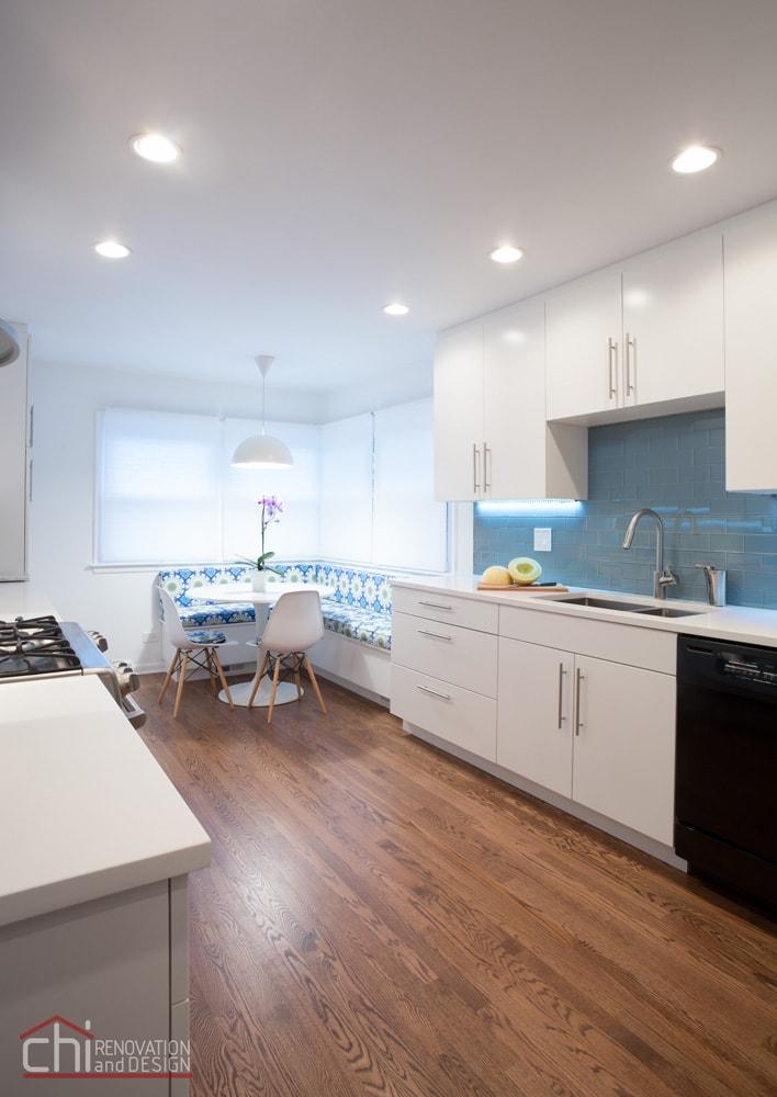 Skokie Kitchen Banquette Flooring Remodel