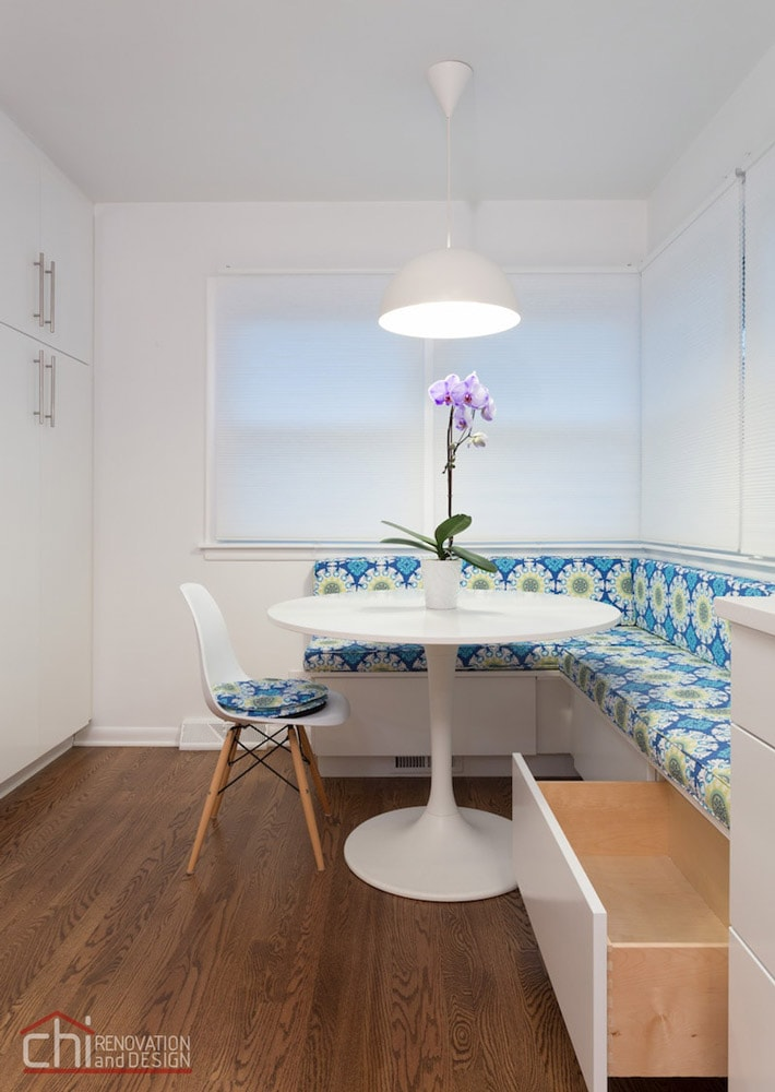 Skokie Kitchen Banquette Open Dining Remodel