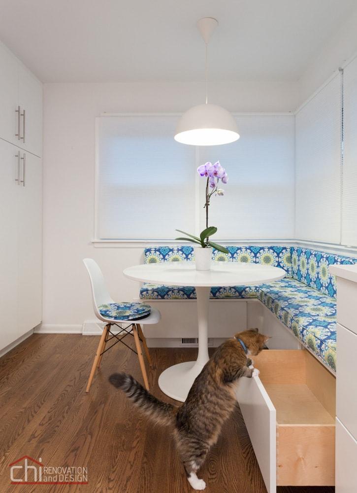 Skokie Kitchen Banquette Open Vanity Remodel