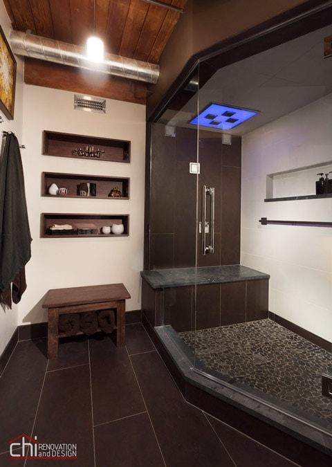 Chicago Bathroom Black Brown Flooring Remodel