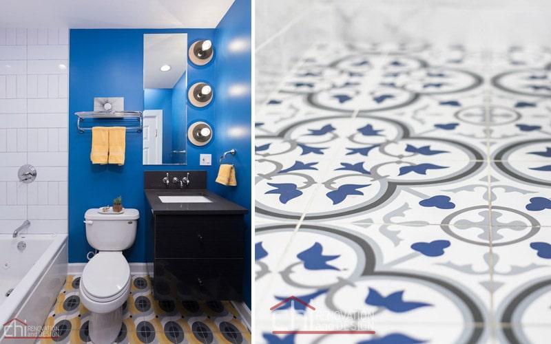 Chicago Bathroom Flooring Pattern Remodel