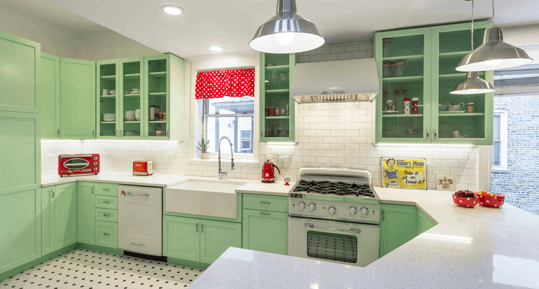 Chicago Retro Green Kitchen Renovation