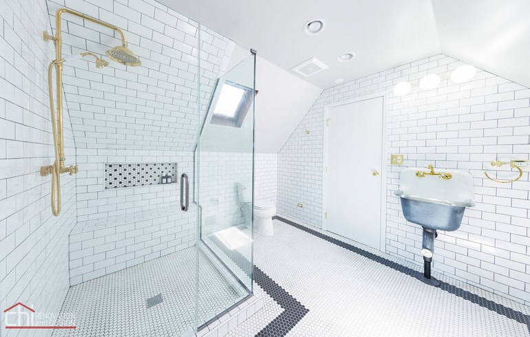 Chicago Roscoe Village Attic Space Bathroom Renovation