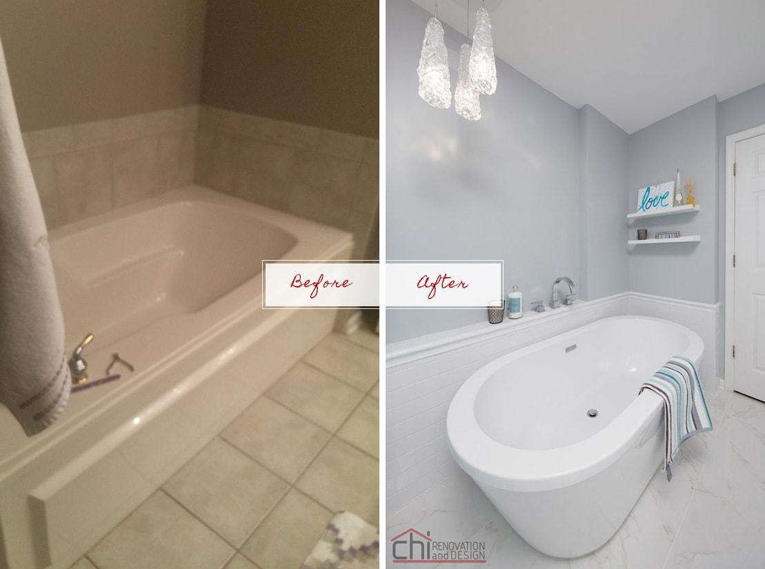 Joans Bathroom Before After Lincoln Park Remodel