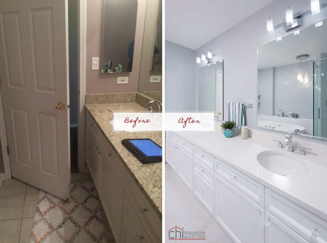 Joans Bathroom Before After Sink Countertop Remodel