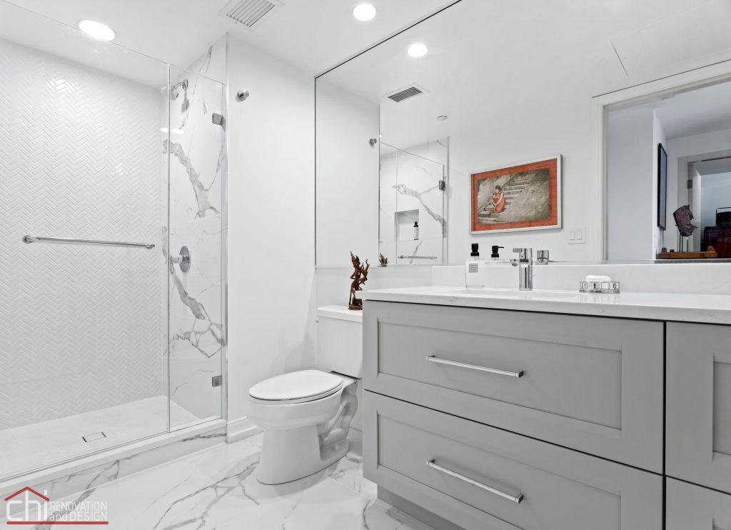 Chi | Chicago Condo Remodel Master Bath Angle View