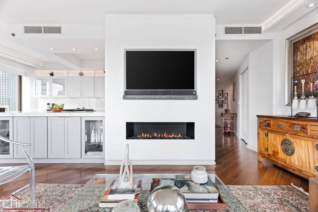 Chi | Chicago Condo Remodel Sleek Living Room And Fireplace