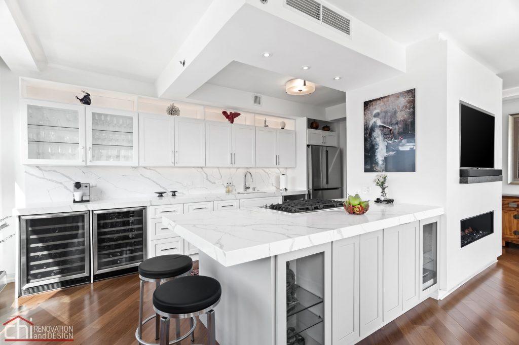 Chi | Chicago Condo Remodel Sleek Kitchen Main View