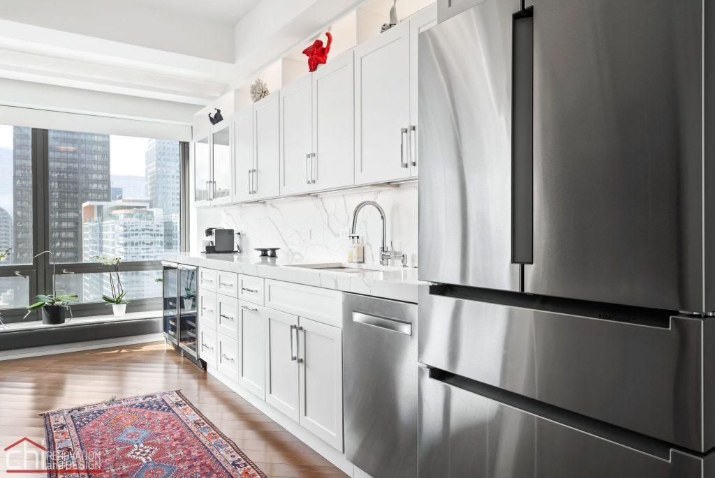 Chi | Chicago Condo Remodel Sleek Kitchen Side View