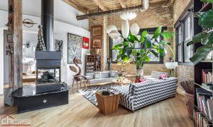 Chicago Timber Loft Living Room Remodel